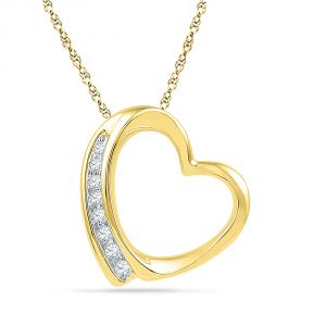 Jpearls 18 Kt Gold Grace Heart Diamond Pendant