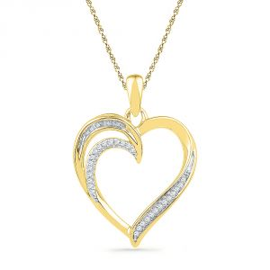 Jpearls 18 Kt Gold Treasure Heart Diamond Pendant
