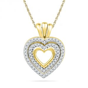 Jpearls 18 Kt Gold Charming Heart Diamond Pendant
