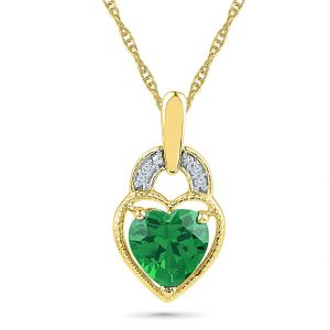 Sri Jagdamba Pearls Mellow Diamond Emerald Pendant ( Code-ph101256-lem )