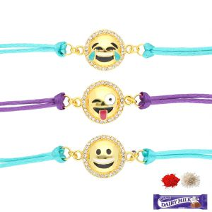 Family rakhi set - SET OF 3 SMILEY RAKHIS (PRKC-18-016 )