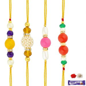 Jagdamba Family rakhi set - COMBO OF 4 COLOURFUL PEARL RAKHIS (PRKC-18-017 )