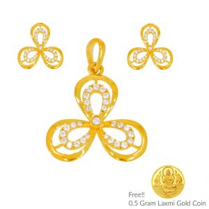 Sri Jagdamba Pearls Luxuriousness 22kt Gold Pendant Set(code Ps-4448)