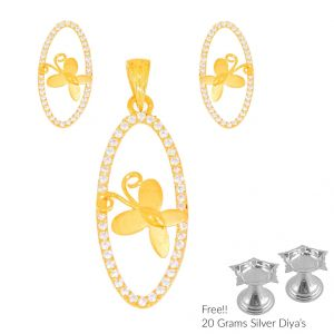 Sri Jagdamba Pearls Verduous 22kt Gold Pendant Set(code Ps-4474)