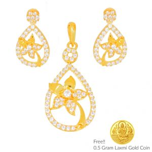 Sri Jagdamba Pealrs Newly Wed 22kt Gold Pendant Set(code Ps-4476)