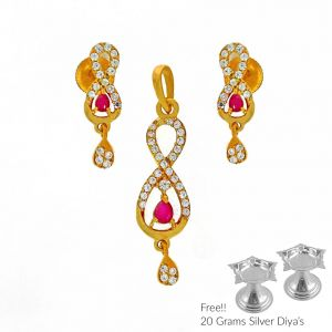 Gold Jewellery - Sri Jagdamba Pearls Ariana 22Kt Gold Pendant Set(Code PS-4692)