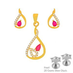 Sri Jagdamba Pearls Nicety 22kt Gold Pendant Set(code Ps-4784)
