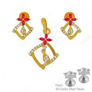 Sri Jagdamba Pearls Angelic 22kt Gold Pendant Set(code Ps-4797)