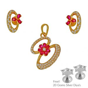 Sri Jagdamba Pearls Floral 22kt Gold Pendant Set(code Ps-4799)