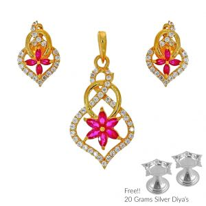 Jagdamba,Clovia,Sukkhi,Estoss Women's Clothing - Sri Jagdamba Pearls Unmitigated 22Kt Gold Pendant Set(Code PS-4829)
