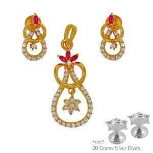 Jagdamba Gold Pendant Sets - Sri Jagdamba Pearls Phenomenal 22Kt Gold Pendant Set(Code PS-4837)
