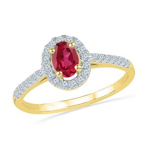 Sri Jagdamba Pearls Ruby With Diamond Finger Ring ( Code-re100402-lru )