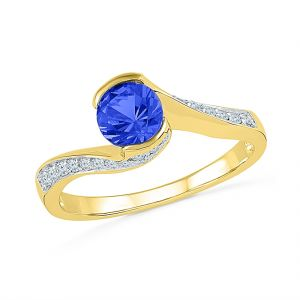 Sri Jagdamba Pearls 925 Sterling Silver Metal With Diamond & Blue Sapphire Finger Ring ( Code-re100606-lbs )