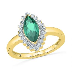 Jagdamba,Kalazone,Jpearls Diamond Jewellery - Sri Jagdamba Pearls Charm Emerald Finger Ring ( Code-RE102738-LEM )