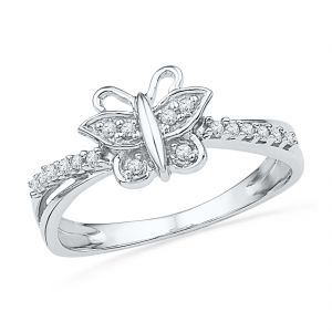 Jpearls 18 Kt Gold Royal Butterfly Diamond Finger Ring