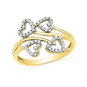 Jpearls 18kt Diamond Hearts Finger Ring