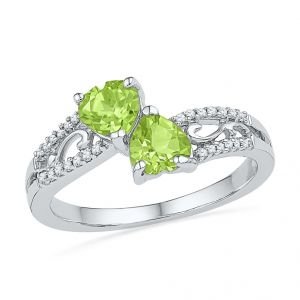 Peridot With Diamonds Finger Ring Code-rf101097-pr-ss