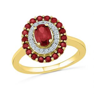 Sri Jagdamba Pearls 925 Sterling Silver Metal With Diamonds & Ruby Finger Ring ( Code-rf103404-lru )