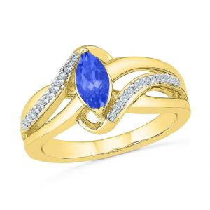 Sri Jagdamba Pearls Diamond With Blue Sapphire Finger Ring ( Code-rf103470-lbs )