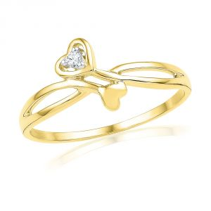 Jpearls Valentines Day Special Double Heart Diamond Finger Ring