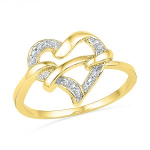 Jpearls 18 Kt Gold Charisma Heart Diamond Finger Ring