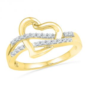 Jpearls 18 Kt Gold Love Knot Diamond Finger Ring