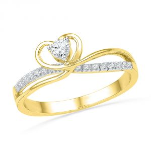 Jpearls 18 Kt Gold Passion Heart Diamond Finger Ring