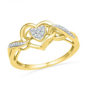 Jpearls 18 Kt Gold Heart Beat Diamond Finger Ring