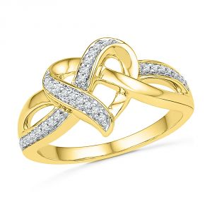 Jpearls 18 Kt Gold Heart Knot Diamond Finger