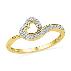 Jpearls 18 Kt Gold Joy Heart Diamond Finger Ring