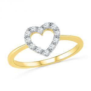 Jpearls 18 Kt Gold Simple Heart Diamond Finger Ring