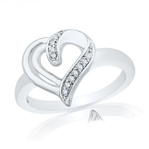 Jpearls 925 Sterling Silver Royal Heart Diamond Finger Ring