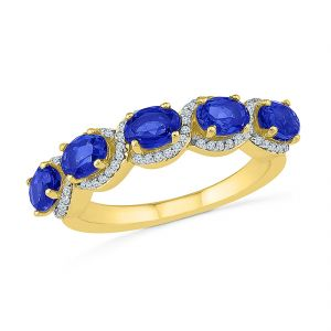 Sri Jagdamba Pearls Blue Sapphire With Diamonds Finger Ring ( Code-ru103706-lbs )