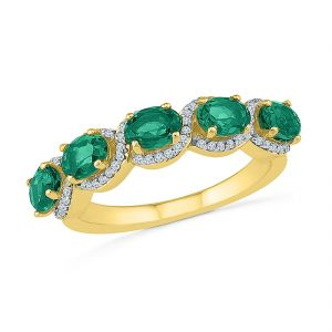 Sri Jagdamba Pearls Perfect Emerald Diamond Finger Ring ( Code-ru103706-lem )