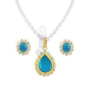 soie,unimod,valentine,jagdamba Necklaces (Imitation) - JPEARLS NEW SKY BLUE STONE PEARLS SET