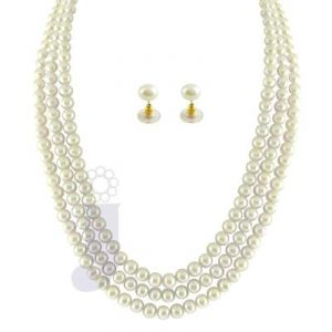Jpearls 3 String White Pearl Set