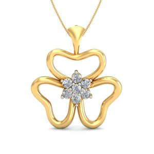 Sri Jagdamba Pearls 18 Kt Gold 0.15 Carat Swirling Diamond Pendant-sdls14246