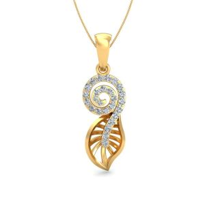 Sri Jagdamba Pearls 18 Kt Gold 0.2 Carat Love Knot Diamond Pendant-sdls14297