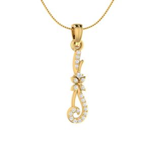 Sri Jagdamba Pearls 18 Kt Gold 0.11 Carat Mind Blowing Solitare Diamond Pendant-sdls14642