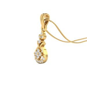 Sri Jagdamba Pearls 18 Kt Gold 0.1 Carat Angel Diamond Pendant-sdls14652