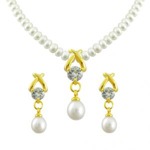 kiara,sparkles,jagdamba,triveni,platinum Pearl Necklaces - Mother''s Day - Jagdamba Arzina Pearl Set