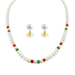 Jpearls Real Ruby And Emerald Pearl Set