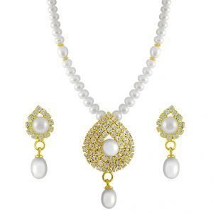 triveni,pick pocket,jpearls,surat diamonds,jpearls,port Necklaces (Imitation) - JPEARLS SINGLE LINE WHITE STONES PEARL SET