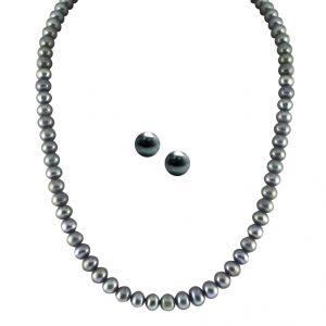 triveni,platinum,jagdamba,asmi,pick pocket,jharjhar,e retailer,hoop Necklaces (Imitation) - JPEARLS SINGLE LINE GREY PEARL SET