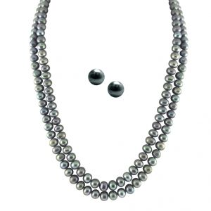 diya,m tech,jpearls Fashion, Imitation Jewellery - JPEARLS 2 STRING GREY PEARL SET