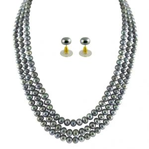 jagdamba,surat diamonds,valentine,jharjhar,asmi,soie Necklaces (Imitation) - JPEARLS 3 STRING GREY PEARL SET