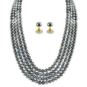 fasense,flora,jharjhar,Surat Diamonds,Jpearls Necklaces (Imitation) - JPEARLS 4 STRING GREY PEARL SET