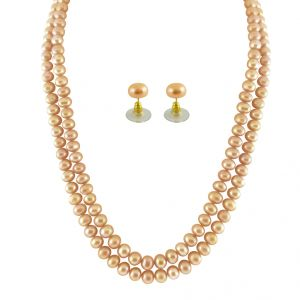 jpearls,kalazone,parineeta,surat diamonds Necklaces (Imitation) - JPEARLS 2 STRING PEACH PEARL SET