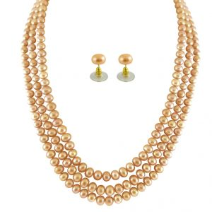 jagdamba,surat diamonds,valentine,jharjhar,asmi,tng Necklaces (Imitation) - JPEARLS 3 STRING PEACH PEARL SET