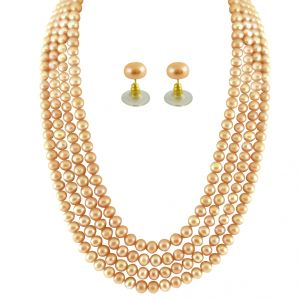 triveni,lime,flora,clovia,jpearls,asmi Necklaces (Imitation) - JPEARLS 4 STRING PEACH PEARL SET